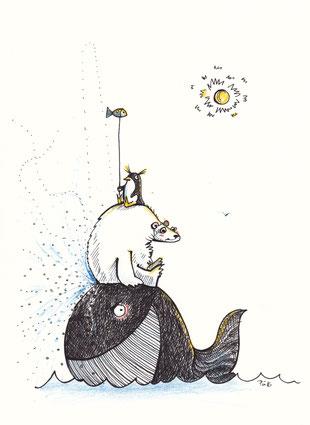 Tiere stapeln. Auf dem Wal sitzt der Eisbär. Auf diesem der Pinguin, der einen Stock in die Höhe hält, an dem ein Fisch aufgespießt ist.
