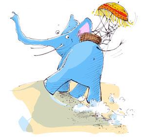 Ein himmelblauer Elefant schaut zurück zum Betrachter des Bildes. Er trägt einen Korb mit einem Sonnenschirm.
