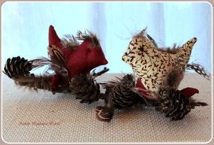 Madame Marie, Aus meinem Atelier, Materialpackung, Vögelchen auf Ast,