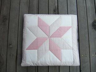 Madame Marie, Aus meinem Atelier, Quilts, Kissendecke, rosa-beige-weiss