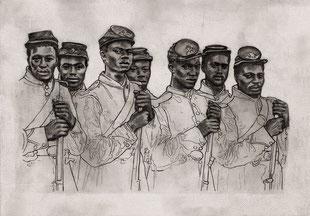 BUFFALO SOLDIERS - graphite et médium sur papier - 30x42 cm