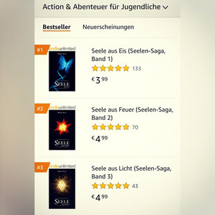 Seelen-Saga, Marie Rapp, Seele aus Eis, Seele aus Feuer, Seele aus Licht, Bestseller