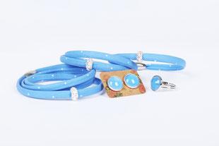 trachtenschmuck-stoffarmbänder morgentau hängen auf rostiger türklinke