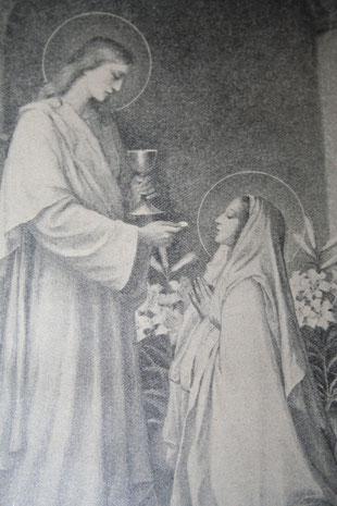 Maria emfängt aus der Hand des heiligen Johannes die Kommunion