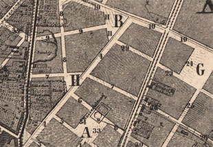 Sections of Hobrecht's plan from 1862. At this point neither the Square H nor the nameless streets existed: They were merely plans for the city implementation within a land-use plan.