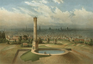 The 1856 tubular tower and the open tank at the city gates