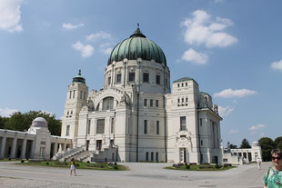 The main church with a huge copper dome on top is placed in the center of the Central Cemetery in Vienna.