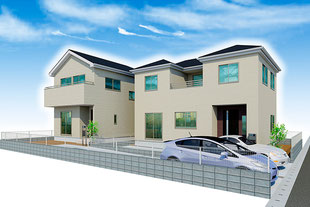 岡山市中区国富の新築一戸建て分譲住宅の外観 物件詳細ページにリンク