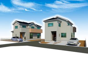 岡山県倉敷市中島の新築一戸建て分譲住宅の外観 物件詳細ページにリンク