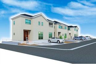 岡山県倉敷市白楽町の新築一戸建て分譲住宅の外観 物件詳細ページにリンク