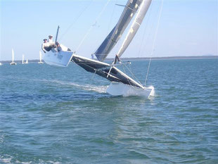 Carbon Copy racing catamaran Shot 1