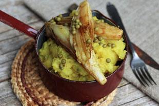 gebratener Chicoree auf Kartoffel-Erbsen-Stampf