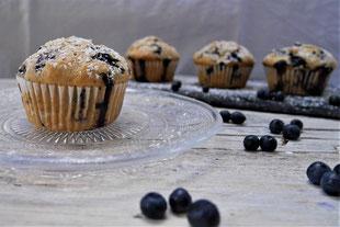Heidelbeermuffins, Muffins mit Blaubeeren, Tassenkuchen