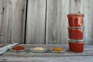 Ketchup mit Curry und ohne Zucker