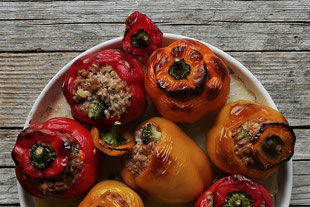 gefüllte Paprika mit Dinkelreis