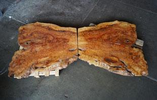 Kampfer Maser Tischplatten, gespiegelt, Massivholzplatten, Echtholz, Beistelltisch, Coffeetable