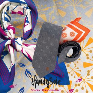Accessoires image de marque, création unique de notre bureau de style pour ces foulards personnalisés, cravates  personnalisées