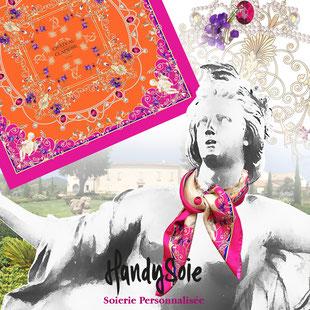 Produit femme, le foulard, carré, gavroche en soie, polyester, coton soie