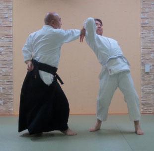 ③軸足を交代して対側の足先は受けの真中に向け正面打ち近似