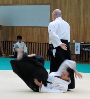 ⑩正面打ち近似で受けの項に結び、丹田に巡って四方投げの残心。受けは取りの前から後ろに螺旋で落ちる。