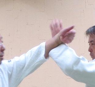 ③'  ③の詳細 母指先と手根が広義の陽へ伸展し接点より拳一つ分受けの中に入る