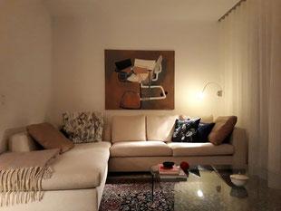 """Eva Hradil """"Zwischenblick"""" aus """"movements"""" 2009, Eitempera auf Halbkreidegrund auf Leinwand, 110 x 130 cm"""