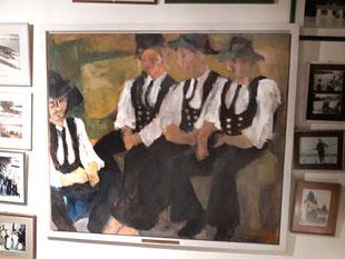 "Eva Hradil ""Vier Handwerksgesellen"" 1999, Öl auf Leinwand, 130 x 150 cm, gerahmt"