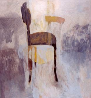 """Eva Hradil """"schwarzer Sessel neben grau"""" 2003 Eitempera auf Lw, 140 x 130 cm, aus dem Diplom """"an- und abwesende Modelle"""""""