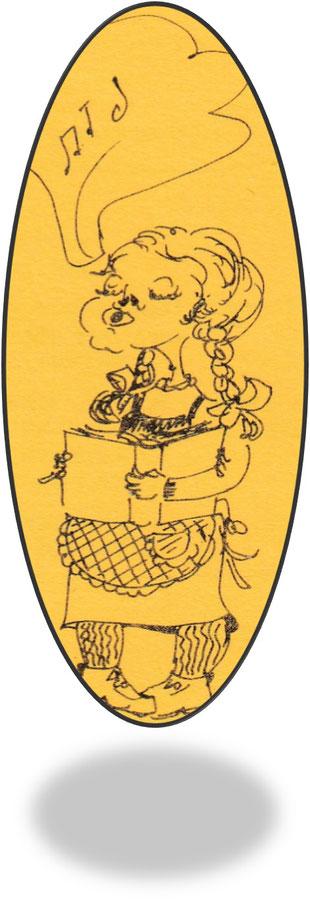 """Zeichnung aus: """"Klassenzusammenkumpft des Jargangs 1939, Kleine Näeflesser Chronick der ersten sex Schuljare (1946-1952)"""