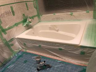 ホーロー浴槽ベースコート吹付塗装