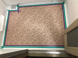 分譲マンションユニットバス全面再生塗装、洗い場シート貼り