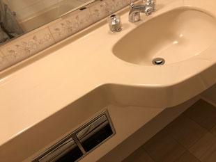 洗面カウンター割れ修理、修繕、補修