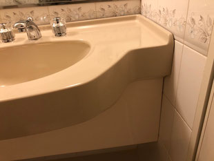 人工大理石洗面カウンター欠け修理、修繕、補修