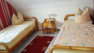 Schlafzimmer der Ferienwohnung mit TV