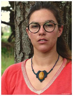 kp Kitsch-paradise artisans créateurs artiste artist créateurfrancais artisanat art bretagne  bijoux macramé micromacramé tissage weaving weavingart collier limonite pendentif stone pierre