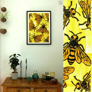 Kitsch, paradise, artisan, créateur, art, dessin, nature, poster, gravure, abeille
