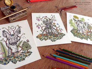 totem, faon, chevreuil, escargot, abeille, encre de chine, crayons de couleur, insectes, feuilles, nature, kitsch-paradise, kitsch, paradise, artisan, créateur, bretagne, macramé, bijoux