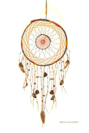 kp Kitsch-paradise artisans créateurs artiste artist créateurfrancais artisanat art bretagne  attrape-rêve dreamcatcher plumes feathers mobile suspension bois noisetier macramé micromacramé tissage weaving weavingart