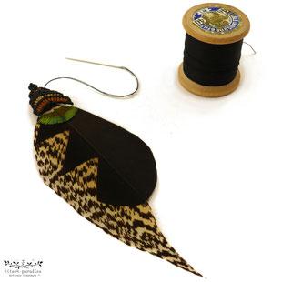 Kitsch, paradise, artisan, créateur, macramé, bijoux, art, plume, boucle d'oreille, nature