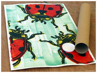coccinelle gravure poster kitsch paradise kp peinture acrylique artisan créateur artisanat