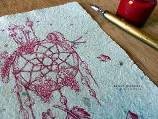 temps escargot papillon attrape rêve kitsch plume encre paradise kp  artisan créateur artisanat