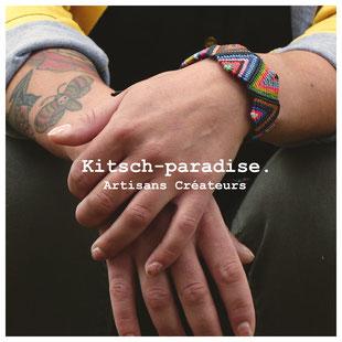 kp Kitsch-paradise artisans créateurs artiste artist créateurfrancais artisanat art bretagne  bijoux macramé micromacramé tissage weaving weavingart bracelet zigzag fluo