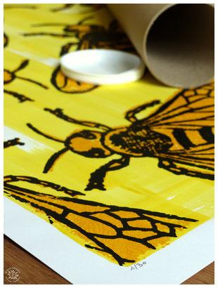 abeille gravure poster kitsch paradise kp peinture acrylique artisan créateur artisanat