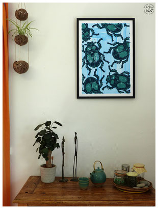 scarabée gravure poster kitsch paradise kp peinture acrylique artisan créateur artisanat