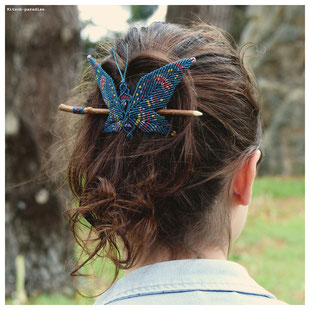 kp kitsch-paradise artisans créateurs papillon barrette macramé