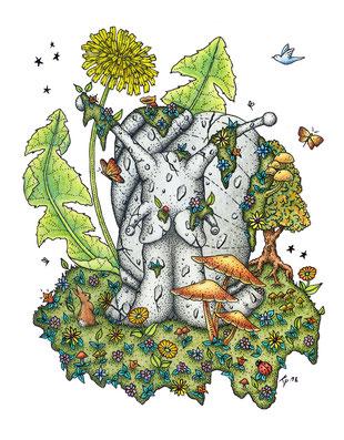 totem, escargot, lapin, fleurs, papillons encre de chine, crayons de couleur, kitsch-paradise, kitsch, paradise, artisan, créateur, bretagne, macramé, bijoux