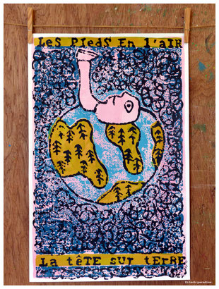 pieds tête terre gravure poster kitsch paradise kp peinture acrylique artisan créateur artisanat