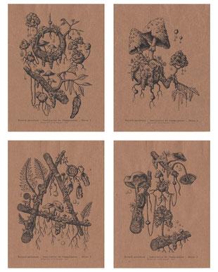 cueillette champignons impression kitsch paradise kp  artisan créateur artisanat