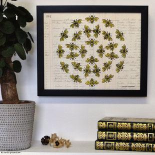 #kitsch #paradise #artisan #créateur #linogravure #art #dessin #nature #mantra #ruche #abeille #papier #peint #mandala