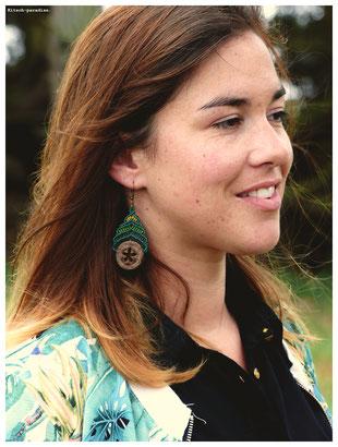 kitsch-paradise artisans créateurs boiucle d'oreille macramé création tissage micromacramé couleur nature art colle dentelle cauri coquillage mer plage cote bretagne